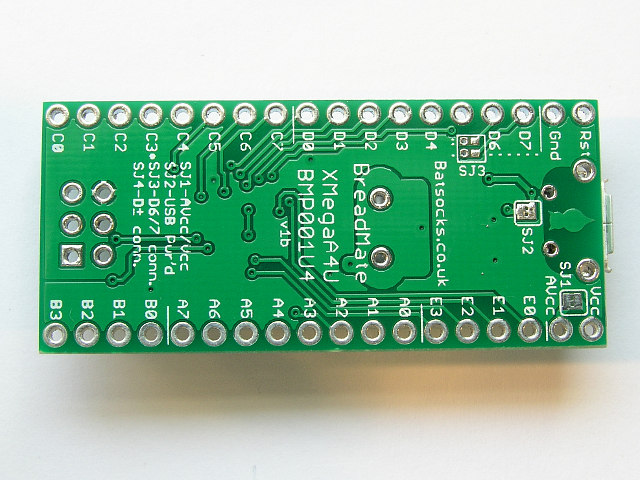 The underside of the USB XMega PDI board (v1b)