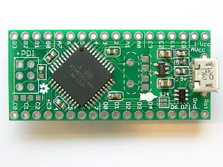 The topside of the USB XMega PDI board (v1b)