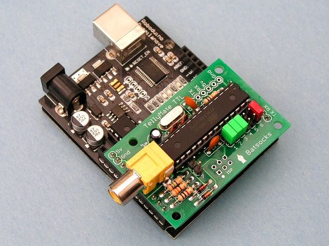 A completed TellyMate TTL Kit sitting on an Arduino