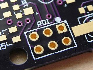 Atmel PDI header on PCB